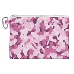 Standard Violet Pink Camouflage Army Military Girl Canvas Cosmetic Bag (xl)