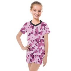 Standard Violet Pink Camouflage Army Military Girl Kids  Mesh Tee And Shorts Set by snek