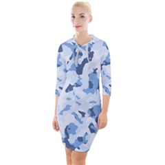 Standard Light Blue Camouflage Army Military Quarter Sleeve Hood Bodycon Dress by snek