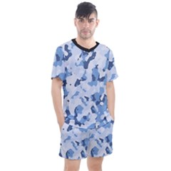Standard Light Blue Camouflage Army Military Men s Mesh Tee And Shorts Set