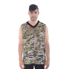 Wood Camouflage Military Army Green Khaki Pattern Men s Basketball Tank Top