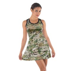 Wood Camouflage Military Army Green Khaki Pattern Cotton Racerback Dress