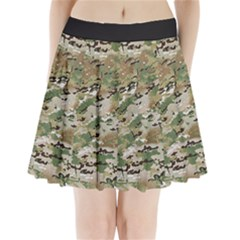 Wood Camouflage Military Army Green Khaki Pattern Pleated Mini Skirt by snek