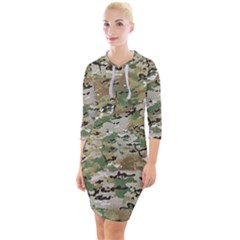 Wood Camouflage Military Army Green Khaki Pattern Quarter Sleeve Hood Bodycon Dress by snek