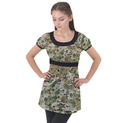 Wood Camouflage Military Army Green Khaki Pattern Puff Sleeve Tunic Top
