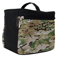 Wood Camouflage Military Army Green Khaki Pattern Make Up Travel Bag (small) by snek
