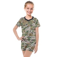 Wood Camouflage Military Army Green Khaki Pattern Kids  Mesh Tee And Shorts Set by snek