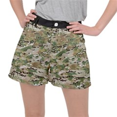 Wood Camouflage Military Army Green Khaki Pattern Stretch Ripstop Shorts