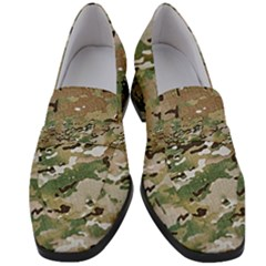 Wood Camouflage Military Army Green Khaki Pattern Women s Chunky Heel Loafers