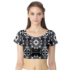 Kaleidoscope Mandala Art Short Sleeve Crop Top