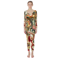Abstract Background Pattern Art Long Sleeve Catsuit