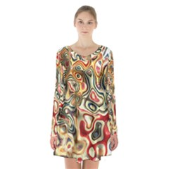 Abstract Background Pattern Art Long Sleeve Velvet V Neck Dress