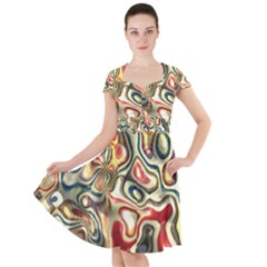 Abstract Background Pattern Art Cap Sleeve Midi Dress