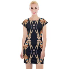 Kaleidoscope Symmetry Pattern Girls Cap Sleeve Bodycon Dress by Pakrebo