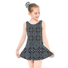 Kaleidoscope Pattern Seamless Kids  Skater Dress Swimsuit