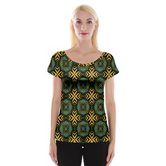 Kaleidoscope Pattern Seamless Cap Sleeve Top