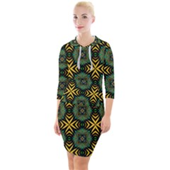 Kaleidoscope Pattern Seamless Quarter Sleeve Hood Bodycon Dress by Pakrebo