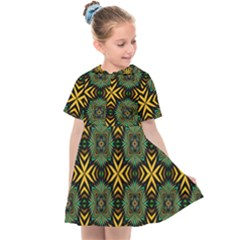 Kaleidoscope Pattern Seamless Kids  Sailor Dress by Pakrebo