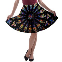Church Stained Glass Windows Colors A Line Skater Skirt