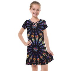 Church Stained Glass Windows Colors Kids  Cross Web Dress by Pakrebo