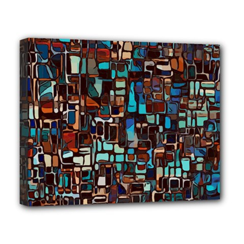 Stained Glass Mosaic Abstract Deluxe Canvas 20  X 16  (stretched) by Pakrebo