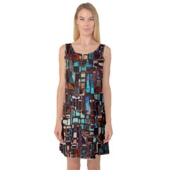 Stained Glass Mosaic Abstract Sleeveless Satin Nightdress