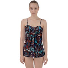 Stained Glass Mosaic Abstract Babydoll Tankini Set
