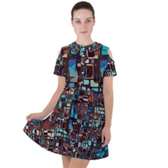 Stained Glass Mosaic Abstract Short Sleeve Shoulder Cut Out Dress