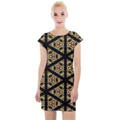 Pattern Stained Glass Triangles Cap Sleeve Bodycon Dress by Pakrebo
