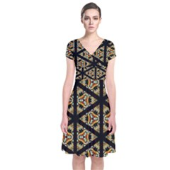 Pattern Stained Glass Triangles Short Sleeve Front Wrap Dress