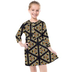 Pattern Stained Glass Triangles Kids  Quarter Sleeve Shirt Dress