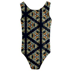 Pattern Stained Glass Triangles Kids  Cut Out Back One Piece Swimsuit