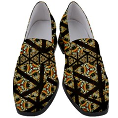 Pattern Stained Glass Triangles Women s Chunky Heel Loafers