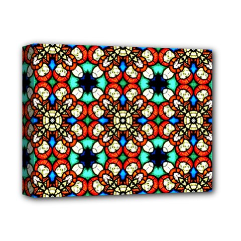 Stained Glass Pattern Texture Face Deluxe Canvas 14  X 11  (stretched) by Pakrebo