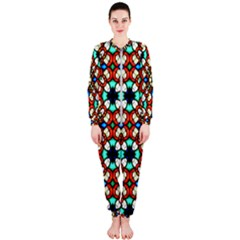 Stained Glass Pattern Texture Face Onepiece Jumpsuit (ladies)  by Pakrebo