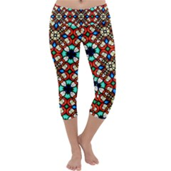 Stained Glass Pattern Texture Face Capri Yoga Leggings