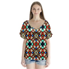 Stained Glass Pattern Texture Face V Neck Flutter Sleeve Top