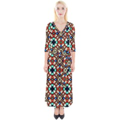 Stained Glass Pattern Texture Face Quarter Sleeve Wrap Maxi Dress by Pakrebo