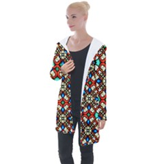Stained Glass Pattern Texture Face Longline Hooded Cardigan