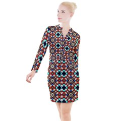 Stained Glass Pattern Texture Face Button Long Sleeve Dress