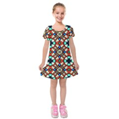 Stained Glass Pattern Texture Face Kids  Short Sleeve Velvet Dress by Pakrebo