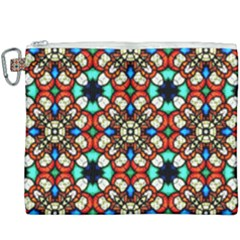 Stained Glass Pattern Texture Face Canvas Cosmetic Bag (xxxl) by Pakrebo