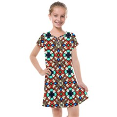 Stained Glass Pattern Texture Face Kids  Cross Web Dress by Pakrebo