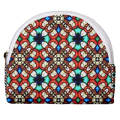 Stained Glass Pattern Texture Face Horseshoe Style Canvas Pouch by Pakrebo