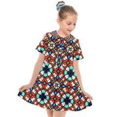 Stained Glass Pattern Texture Face Kids  Short Sleeve Shirt Dress