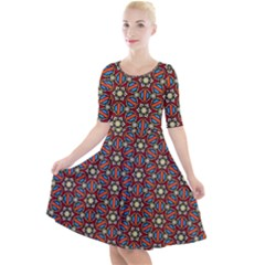 Pattern Stained Glass Church Quarter Sleeve A Line Dress