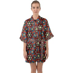 Pattern Stained Glass Church Quarter Sleeve Kimono Robe