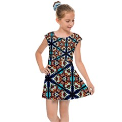 Church Window Stained Glass Texture Kids  Cap Sleeve Dress by Pakrebo