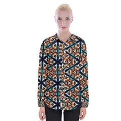 Church Window Stained Glass Texture Womens Long Sleeve Shirt