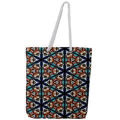 Church Window Stained Glass Texture Full Print Rope Handle Tote (large)